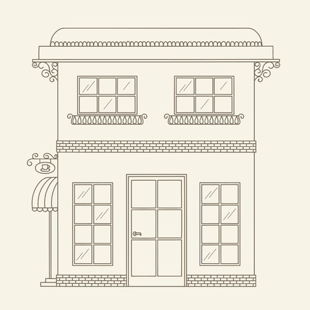 Hand drawn outline house. Vector line art illustration. Children's and adult coloring page