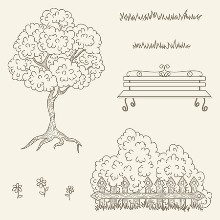 Hand drawn outline street/garden objects. Vector line art illustration. Children's and adult coloring page