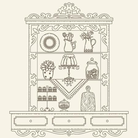 utensils: Hand drawn outline vintage kitchen shelvescabinet. Vector line art illustration. Childrens and adult coloring page