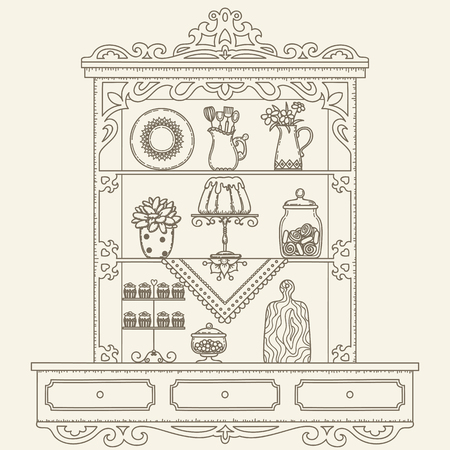 Hand drawn outline vintage kitchen shelvescabinet. Vector line art illustration. Childrens and adult coloring page