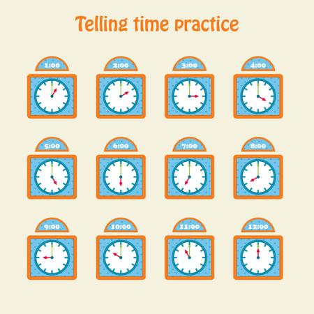 Telling time practice. Educational art. Vector illustration