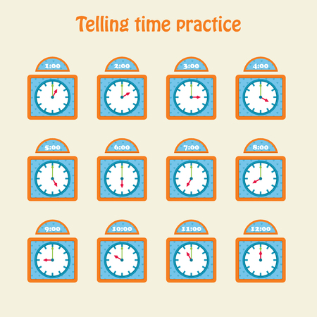 Telling time practice. Educational art. Vector illustration