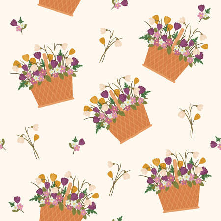 Flowers in a basket seamless pattern. Vector seamless wallpaper with clipping mask