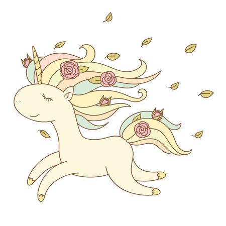 Happy unicorn running with flowers in its mane. Isolated over white background. Vector hand drawn illustration. Ilustração