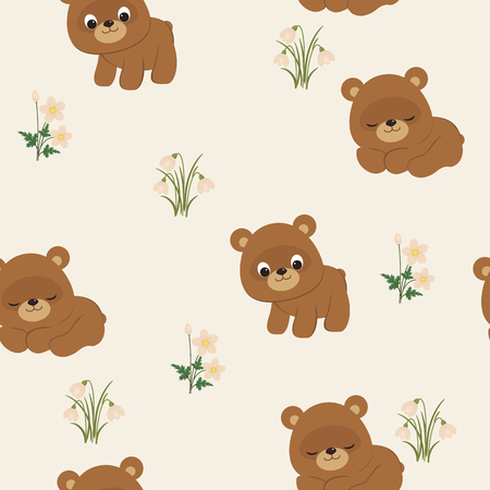 cute wallpaper: Spring seamless pattern. Cute baby bears and spring flowers. Vector wallpaper Illustration