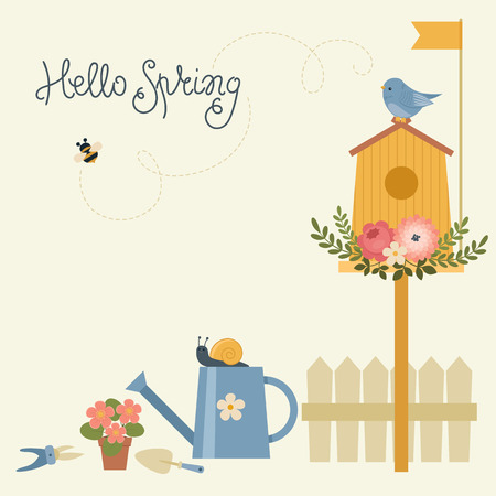 outside the house: Spring greeting card. Floral birdhouse and bird, watering can with snail, garden tools, flowers, bumble bee. Hello Spring lettering.