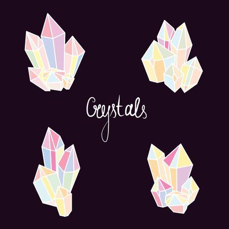 """Kristallen en mineralen vectortekening. Kleurrijke kristallen op zwarte achtergrond met belettering """"Crystals"""""""