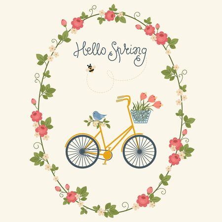 Spring card design with bicycle in floral wreath, bee and bird. Hand lettering Hello Spring