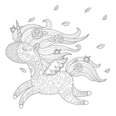 Vector monochrome unicorn illustration. Coloring page template.