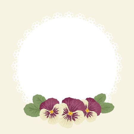 flower layout: Beautiful vintage blank card template with pansies. Vector illustration Illustration