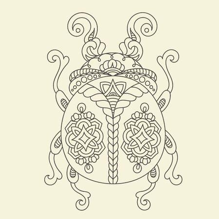 Escarabajo Monocromo Estilizado / Insecto. Ilustración Vectorial ...