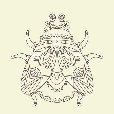 Stylized monochrome beetle/bug. Hand drawn vector illustration. Line Art. Adults/children anti stress coloring page Illustration