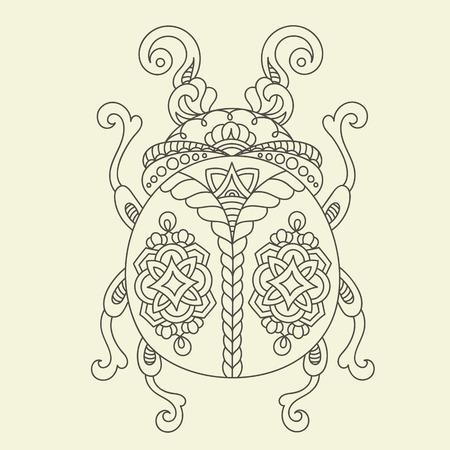 art activity: Stylized monochrome beetlebug. Hand drawn vector illustration. Line Art. Adultschildren anti stress coloring page Illustration