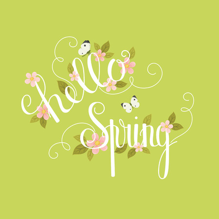 Hello Spring hand lettering. Flowers, leaves and butterflies on green background. Vector illustration 矢量图像