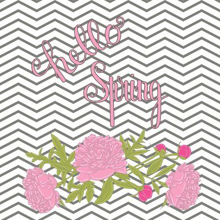 Hello Spring belettering. Handgeschreven inscriptie met pioenrozen. Lente citaat. Vector illustratie