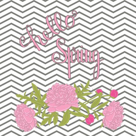 Hello Spring lettering. Handwritten inscription with peonies. Spring quote. Vector illustration Ilustracja