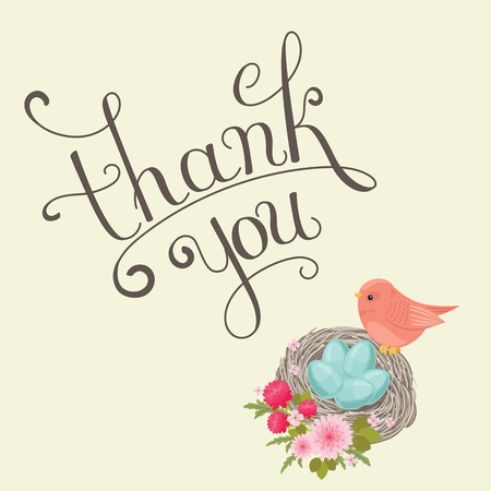 Thank You handwritten inscription. Hand drawn lettering. Thank You calligraphy. Thank you card with bird and nest. Vector illustration.