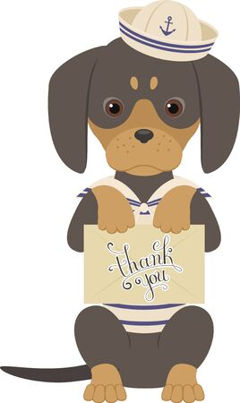 over white: Dachshund holds an envelope with Thank You note. Nautical theme. Dog wears seaman costume. Vector illustration isolated over white.