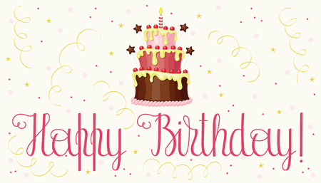 Birthday greeting card with cake and confetti happy birthday birthday greeting card with cake and confetti happy birthday hand writing happy birthday lettering m4hsunfo
