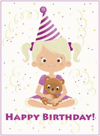 Birthday girl with teddy bear and confetti. Happy child in birthday hat. Vector art.