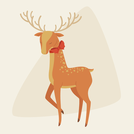 spotted fur: Elegant deer with a bow on his neck. Vector art.