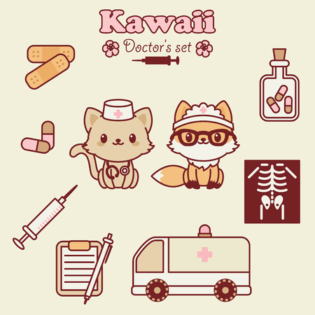 Kawaii animals doctors set. Vector icons. Childrens stickers template. Illustration