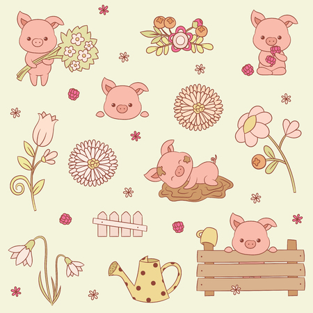 Pigs vector icons set. Many adorable piglets in different situations. Vector art.