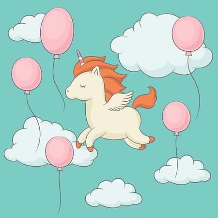 Unicorn with wings flying in the sky. Happy unicorn surrounded by balloons and clouds. Perfect for poster, greeting card, wall art, t-shirt. Vector art.