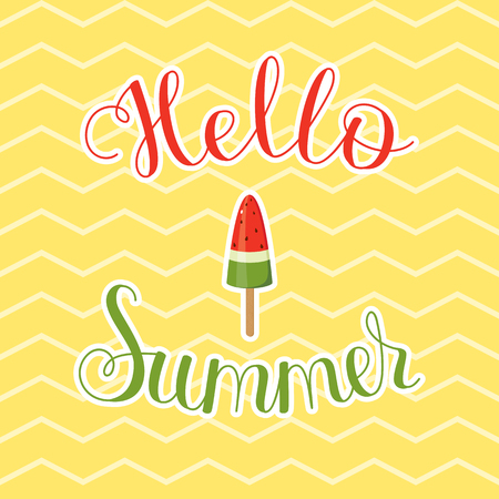 Hello Summer lettering. Vibrant text with watermelon ice cream on chevron background.