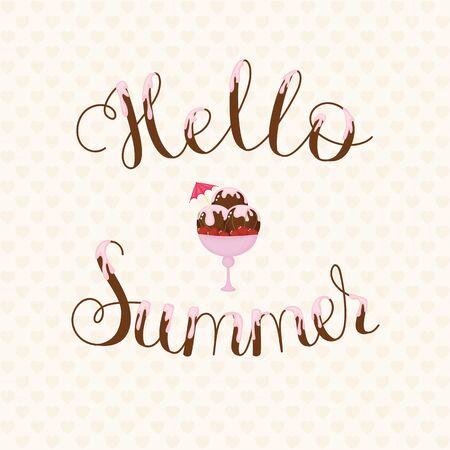 Hallo zomer lettering. Tekst bedekt met room met chocolade-ijs op de achtergrond.