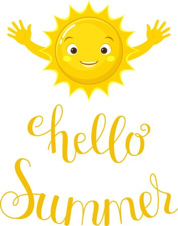 Hello Summer lettering. Yellow text with happy sun going to hug you. Handwritten script sign or inscription.