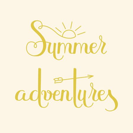 Hand drawn lettering Summer Adventures. Yellow letters on cream background. Zdjęcie Seryjne - 73053807