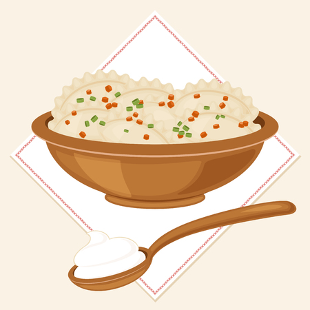 Traditional Ukrainian food varenyky (not dumplings, not pierogies) in a bowl with a full spoon of sour cream. Vector art. Eps 10 Vettoriali
