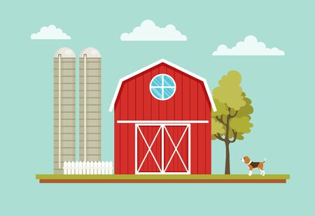 rural house: Rural landscape with a barn house, dog, tree and farm towers