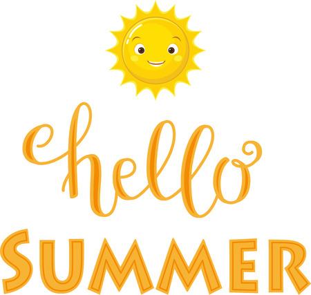 你好,夏天刻字。黄色的文字带着快乐的阳光。手写的脚本/铭文迹象。完美的设计元素的横幅,传单