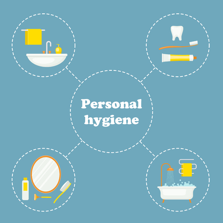 Personal hygiene concept design. Daily hygiene vector icons.