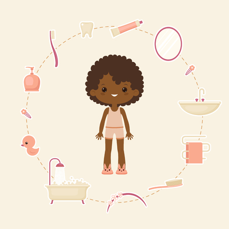 Personal hygiene concept design. Daily hygiene items. Happy healthy child. Vector art.