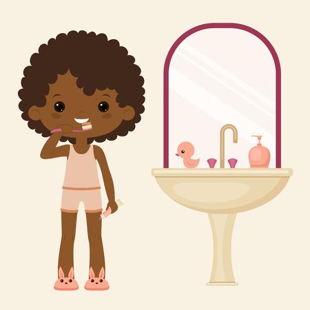 Black girl brushing teeth in bathroom. Vector art.