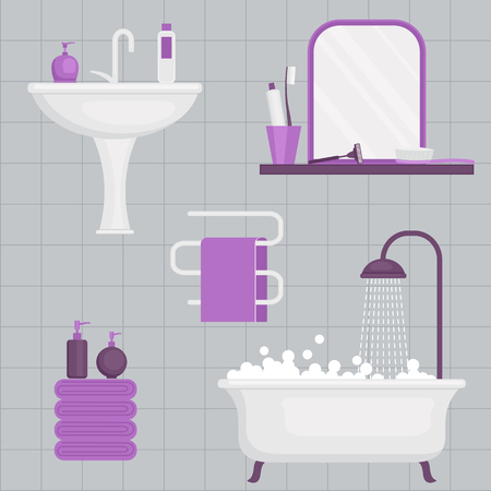 clean bathroom: Personal hygiene concept design. Daily hygiene vector icons.