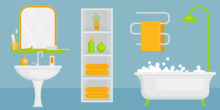 cleanliness: Personal hygiene concept design. Bathroom interior. Horizontal design. Vector art.