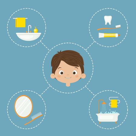 Personal hygiene concept design. Daily hygiene vector icons with little boy. Vettoriali