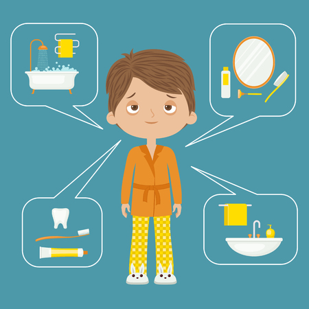 cleanliness: Personal hygiene concept design. Daily hygiene vector icons with tiredsleepy man.