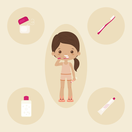 Little girl brushing teeth. Dental care icons set. Vector art.