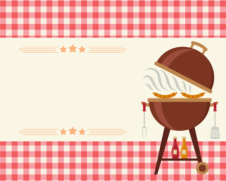 Barbecue party blank invitation. Flyer/card/invitation template. Vector illustration art.  イラスト・ベクター素材