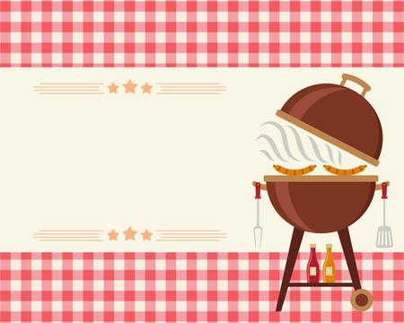 Invitation blanche de partie de barbecue. Modèle de Flyer / carte / invitation. Art d'illustration vectorielle. Banque d'images - 75731610