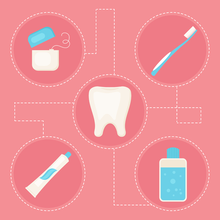 rinse: Dental care icons. Vector art