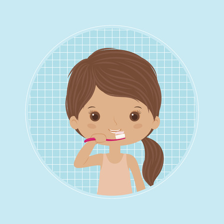 Little girl brushing teeth. Dental care concept. Vector art.