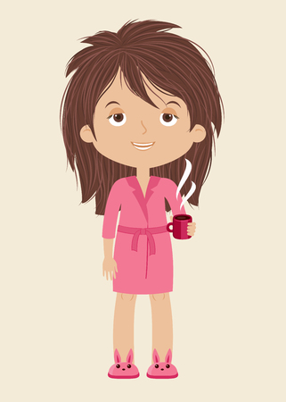 Tiredsleepy woman with cup of coffee. Vector illustration