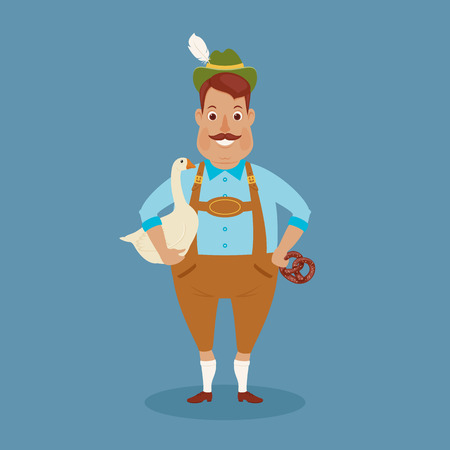 Happy German man with goose and pretzel . Vector art.