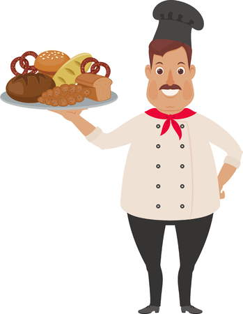 Happy chef with many breads. Funny cartoon character. Vector art.